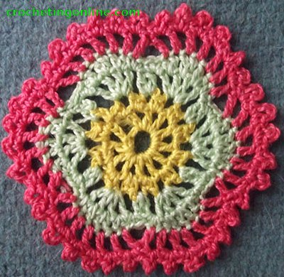 Hexagon Motif Snowflake  crochet stitches