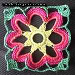 crochet lace square motif Cosmos